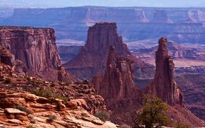 Картинка камни, скалы, каньон, панорама, США, Mesa Arch, Canyonlands