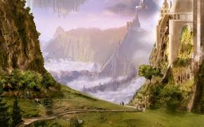 Обои зелень, пейзажи, рисунок