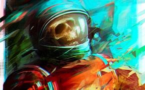 Обои череп, космонавт, скафандр, арт, Por-t-falatron, astro