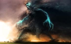 Картинка колосс, дома, буря, арт, Zsolt Kosa