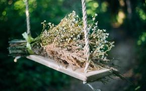 Обои цветы, трава, букет, качель