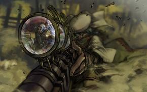 Обои отражение, рисунок, арт, снайпер, прицел, винтовка, steampunk sniper
