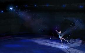Картинка девушка, огни, танец, арт, каток, Frozen, Elsa, Эльза, Холодное сердце