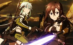 Картинка пистолет, руины, парень, винтовка, голубые волосы, art, Sword Art Online, Kirito, Kirigaya Kazuto, Sword Art …