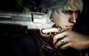 Картинка взгляд, лицо, оружие, рука, перстень, Nero, Devil May Cry 4