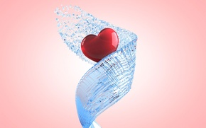 Обои брызги, струя, вода, сердце, прозрачный, спираль, розовый