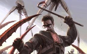 Картинка кровь, очки, монстры, мужчина, битва, half-life 2