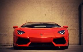 Картинка Lamborghini, Ламборджини, перед, red, красная, Ламборгини, LP700-4, Aventador, Авентадор, LB834