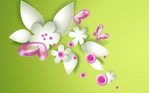 Картинка бабочки, цветы, flowers, butterflies, зеленая абстракция, green abstraction