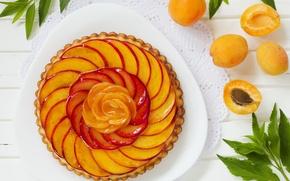 Картинка листики, абрикосовый пирог, абрикосы, выпечка, пирог