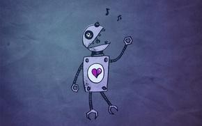 Обои сердце, робот, Любовь