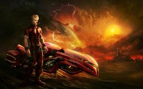 Обои мужчина, арт, hovercraft bike, фантастика, город, закат