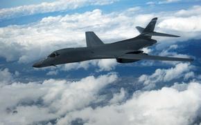 Картинка небо, облака, полет, Lancer, бомбардировщик, B-1B, стратегический, Rockwell, сверхзвуковой