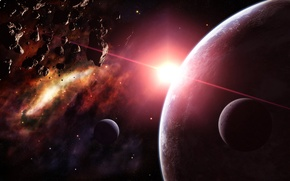 Картинка звезды, астероиды, Планеты