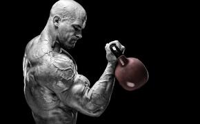Обои training, muscles, peeled, bodybuilder, muscular strength, power, Russian barbell