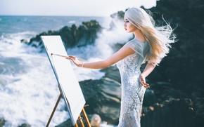 Картинка море, лето, девушка, азиатка, молберт