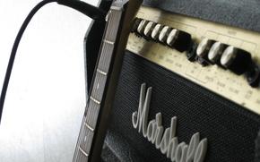 Картинка макро, фото, гитара, marshall, уселитель