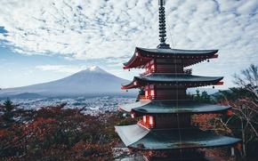 Обои Япония, осень, небо, облака, дом, гора