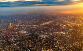 Обои Flight, Airplane, London, City, Sunrise, Fly, Plane, Sky, Flying, England
