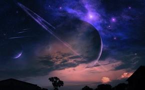 Обои планеты, метеоры, кольца, звездное небо, дерево, дом, ночь, облака, пейзаж, туманность