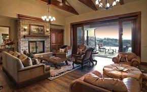 Картинка дизайн, стиль, вилла, интерьер, камин, терраса, гостиная