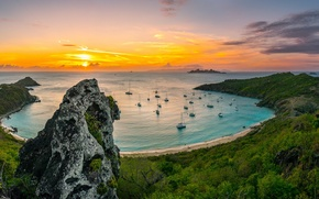 Картинка море, пляж, рассвет, бухта, яхты, утро