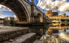 Обои река, Тибр, Рим, Италия, замок Святого Ангела, мост Святого Ангела