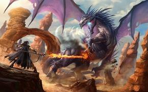 Картинка огонь, дракон, Волшебница, посох