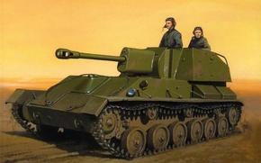 Картинка дорога, арт, установка, советская, самоходно-артиллерийская, лёгкая, участие, противотанковая, СУ-76, Великой Отечественной войне, бюро, летом 1942 …
