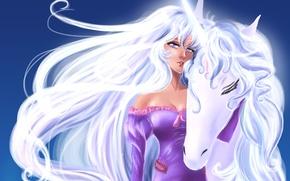 Картинка взгляд, девушка, лицо, лошадь, грива, единорог, белые волосы