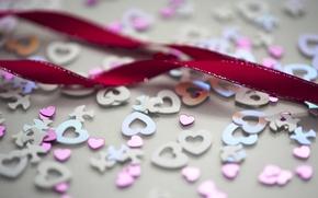 Картинка блестки, голубые, маленькие, сердечки, розовые, большие, свадьба, ленточка, малиновая