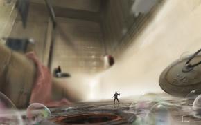 Обои Ant-Man, пробка, ванна, арт, пузыри, комикс, супергерой, Человек-муравей, рисунок, маленький, marvel, фантастика