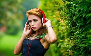 Картинка девушка, музыка, наушники