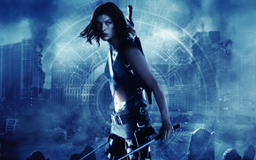 Картинка дома, разрушение, Обитель зла, Resident Evil, Милла Йовович, Milla Jovovich, синий тон