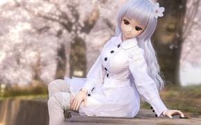 Картинка одежда, игрушка, кукла, белая, сидит, длинные волосы