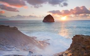 Обои берег, солнце, волны, скалы