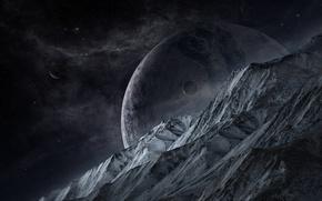 Картинка звезды, скалы, планета, спутники