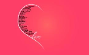 Обои признание, праздник, день святого валентина, сердце, любовь, розовый фон, половинка, слова, день всех влюбленных, чувства