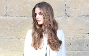 Картинка лицо, модель, волосы, Clara Alonso, каменная стена