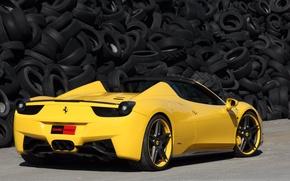 Картинка тюнинг, тачка, tuning, желтая, феррари 458 италия, шин, итальянская марка, ferrari 458 italia spider