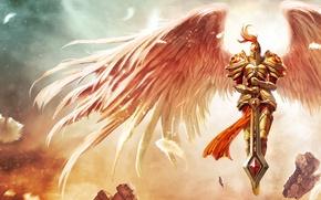 Картинка камни, крылья, меч, перья, броня, League of Legends, Kayle