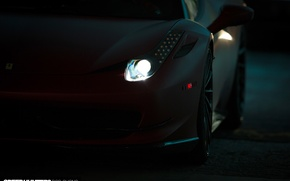 Картинка 2015, свет, Vossen Wheels, диски, Ferrari, фары, wheels, auto, машина, авто, Феррари, темнота