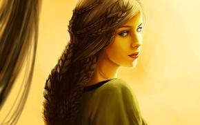 Картинка глаза, взгляд, девушка, лицо, волосы, платье, арт, косички, плетение