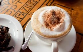 Картинка чашка, молоко, напиток, капучино, кофе, тарелка, пена, блюдце, пирожное, шоколад, ложка