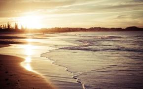 Картинка волны, пляж, небо, вода, солнце, облака, деревья, пейзаж, природа, отражение, фон, обои, широкоформатные, HD wallpapers, …