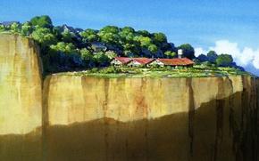 Картинка небо, берег, дома, art, spirited away, унесенные призраками, kazuo oga