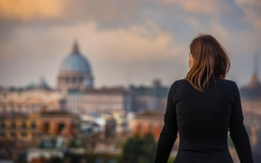 Картинка девушка, вид, Рим, Италия