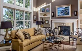 Картинка картина, диван, камин, лампа, дизайн