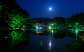 Обои парк, отражение, мост, деревья, Япония, луна, огни, Ukimido, вода, ночь, пагода, фонари, небо, пруд