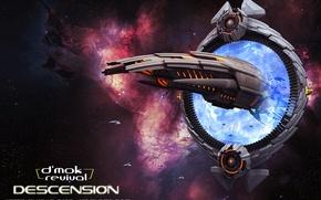 Картинка космос, звёзды, портал, космический корабль, d'mok revival, descension